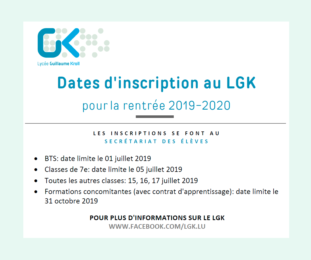 Dates d'inscription au LGK