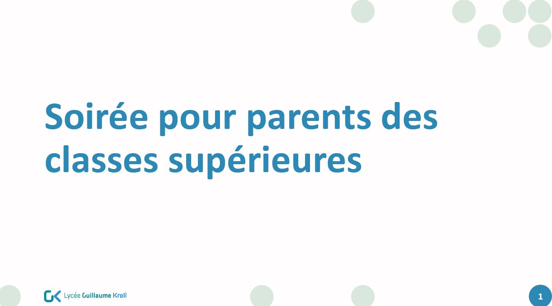 Documents des soirées d'information pour parents