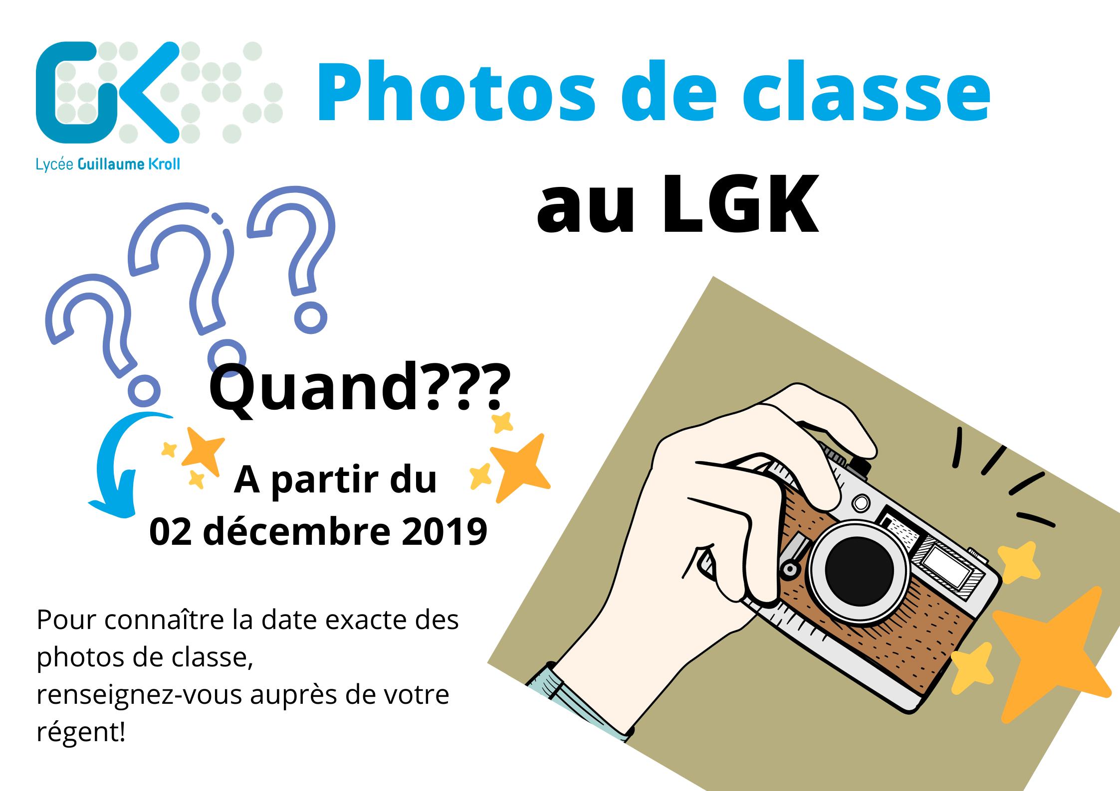 Très prochainement: Les photos de classe au LGK