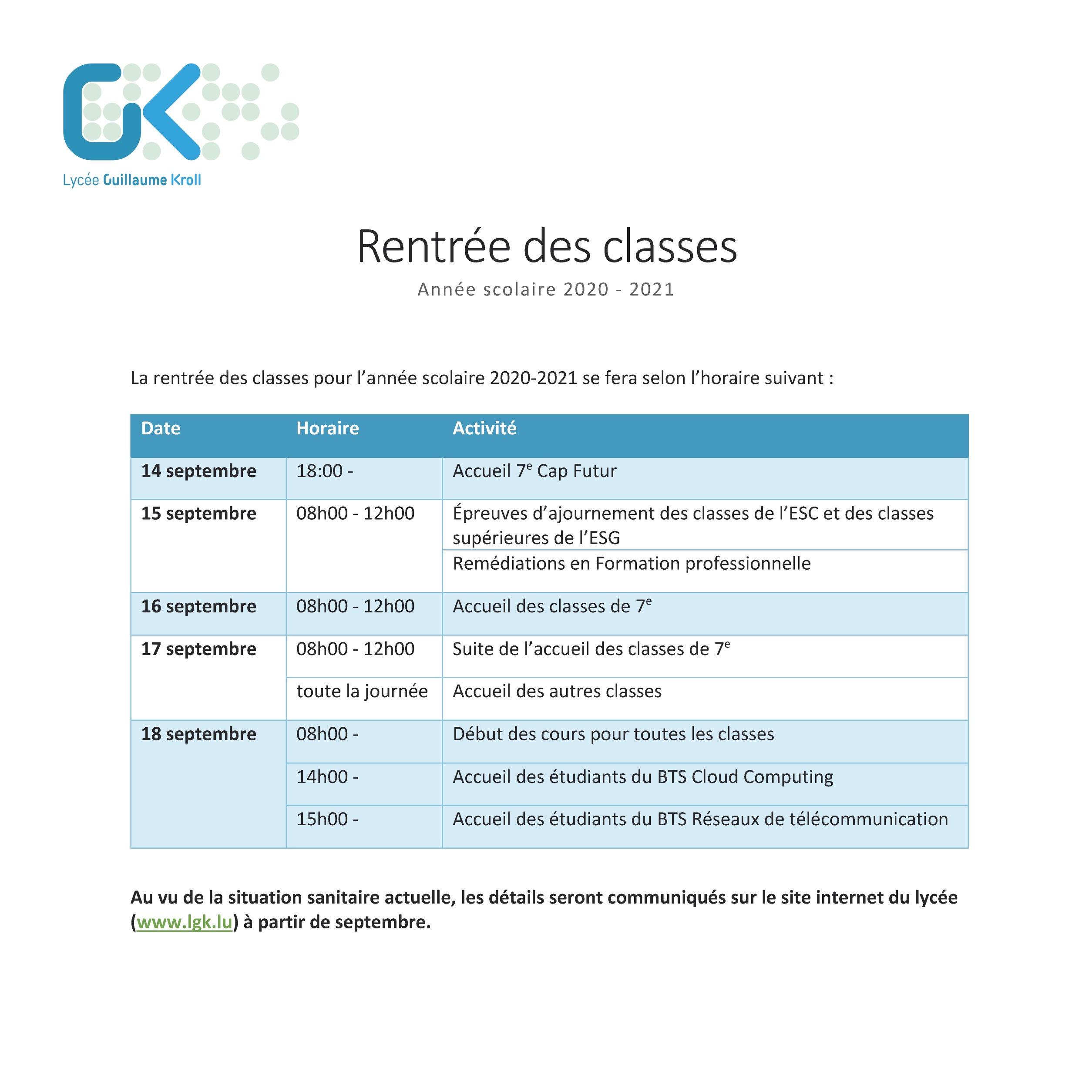 Informations sur la rentrée des classes 2020 - 2021