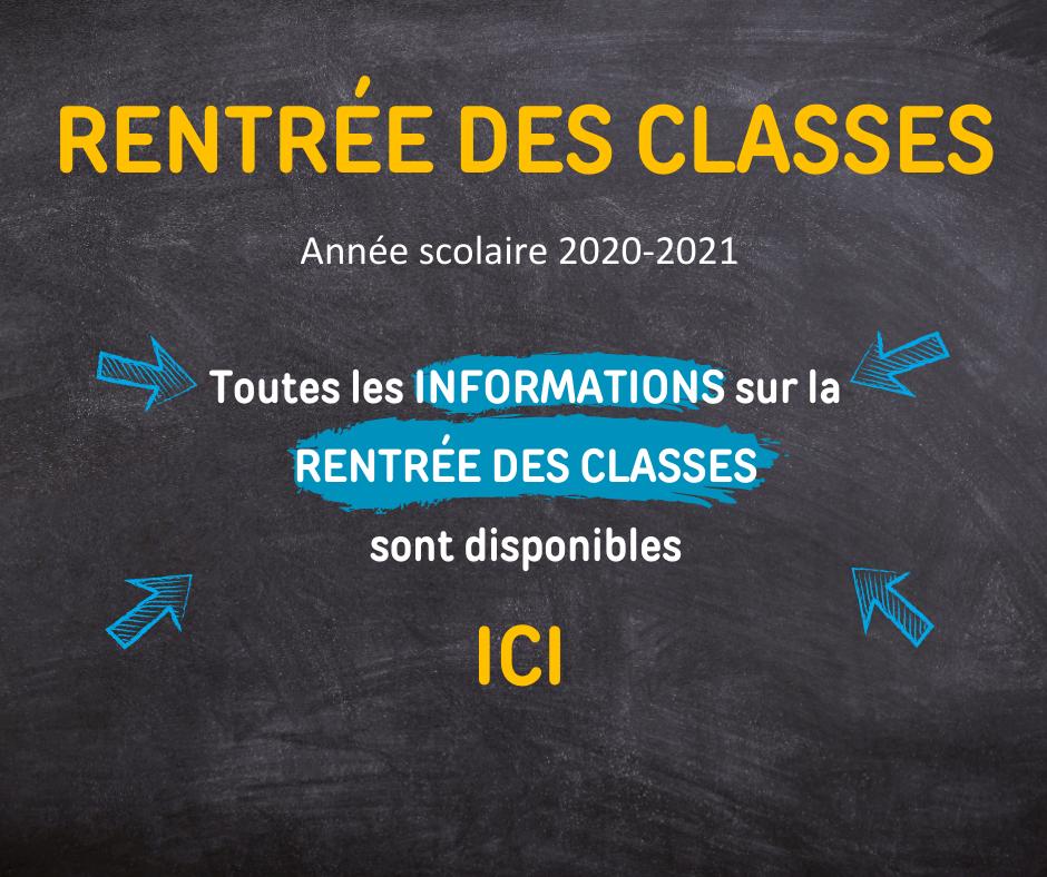 Informations sur la rentrée des classes 2020-2021
